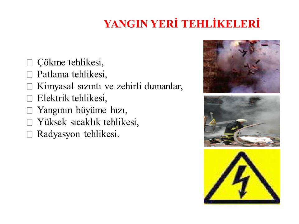 YANGIN YERİ TEHLİKELERİ  Çökme tehlikesi,  Patlama tehlikesi,  Kimyasal sızıntı ve zehirli dumanlar,  Elektrik tehlikesi,  Yangının büyüme hızı,