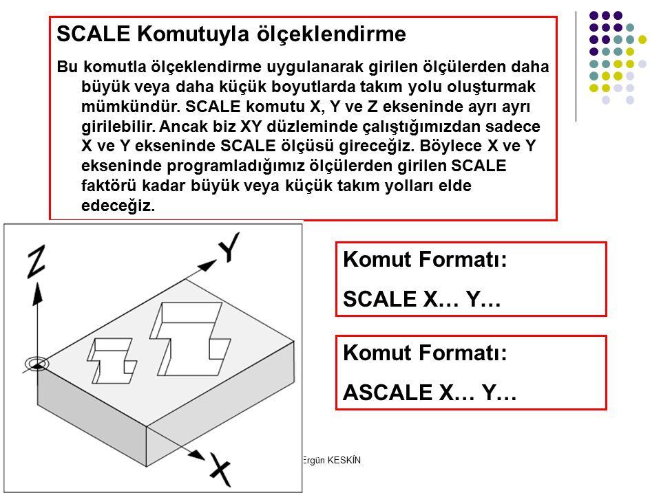 Ergün KESKİN SCALE Komutuyla ölçeklendirme Bu komutla ölçeklendirme uygulanarak girilen ölçülerden daha büyük veya daha küçük boyutlarda takım yolu oluşturmak mümkündür.