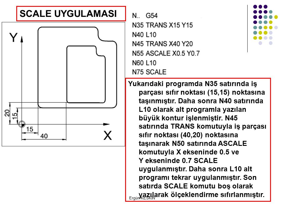 Ergün KESKİN SCALE UYGULAMASI Yukarıdaki programda N35 satırında iş parçası sıfır noktası (15,15) noktasına taşınmıştır.