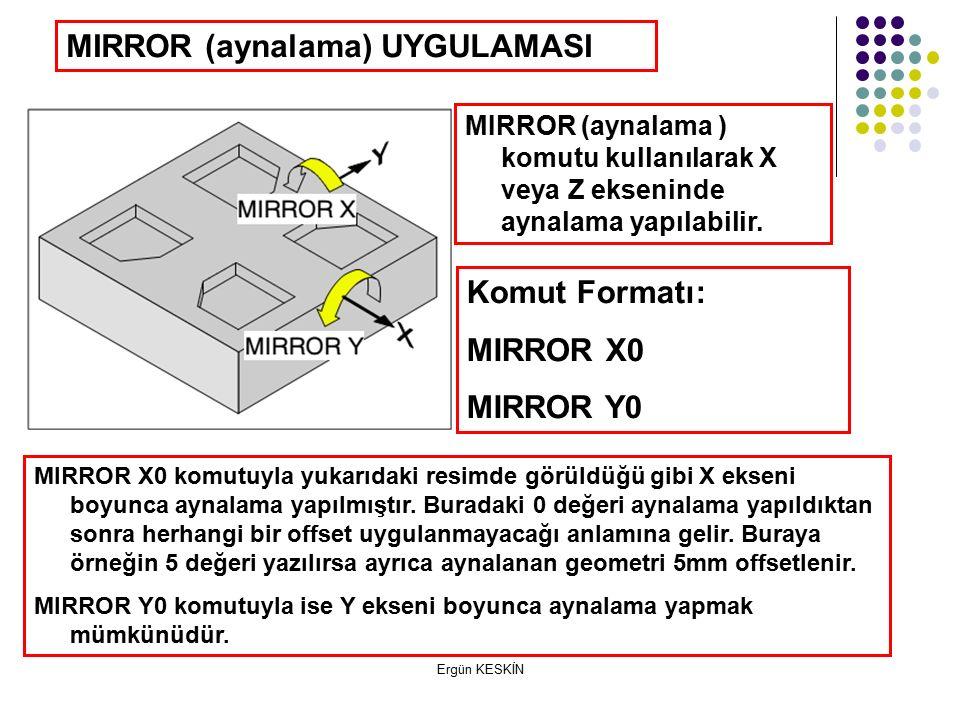 Ergün KESKİN MIRROR (aynalama) UYGULAMASI MIRROR (aynalama ) komutu kullanılarak X veya Z ekseninde aynalama yapılabilir.