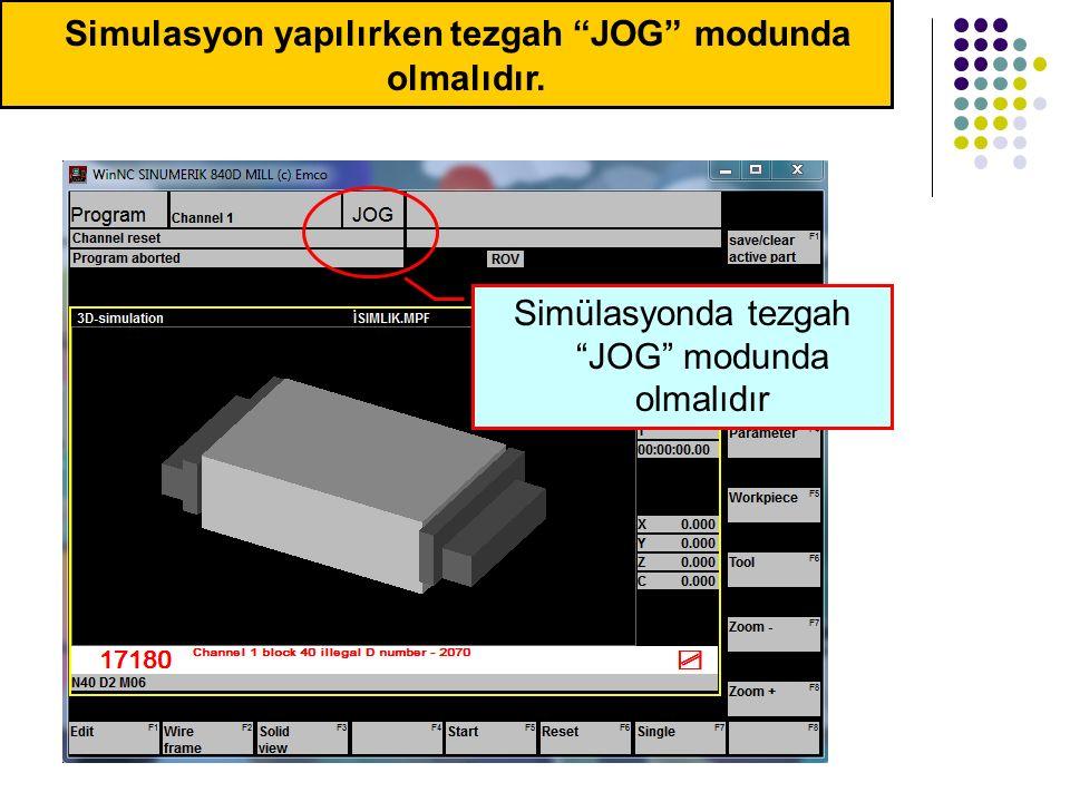 Ergün KESKİN Simulasyon yapılırken tezgah JOG modunda olmalıdır.