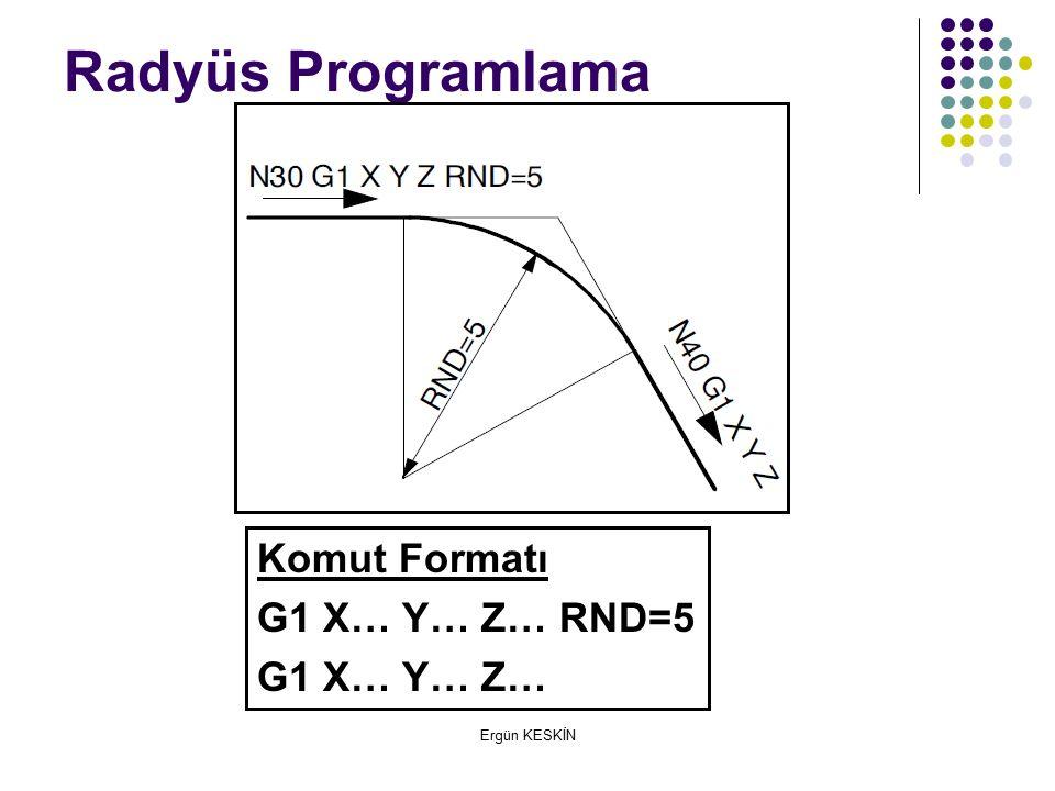 Ergün KESKİN Radyüs Programlama Komut Formatı G1 X… Y… Z… RND=5 G1 X… Y… Z…