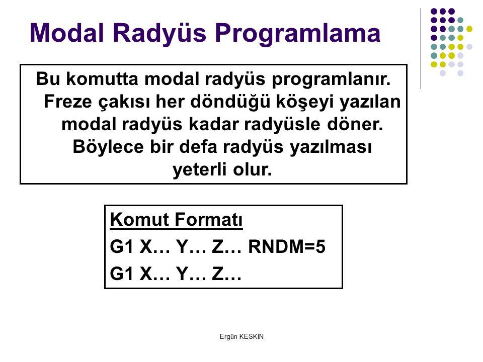 Komut Formatı G1 X… Y… Z… RNDM=5 G1 X… Y… Z… Modal Radyüs Programlama Bu komutta modal radyüs programlanır.