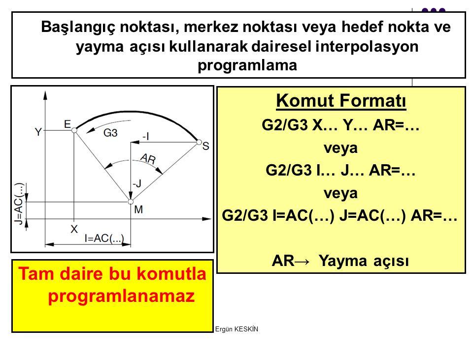 Komut Formatı G2/G3 X… Y… AR=… veya G2/G3 I… J… AR=… veya G2/G3 I=AC(…) J=AC(…) AR=… AR→ Yayma açısı Başlangıç noktası, merkez noktası veya hedef nokta ve yayma açısı kullanarak dairesel interpolasyon programlama Tam daire bu komutla programlanamaz