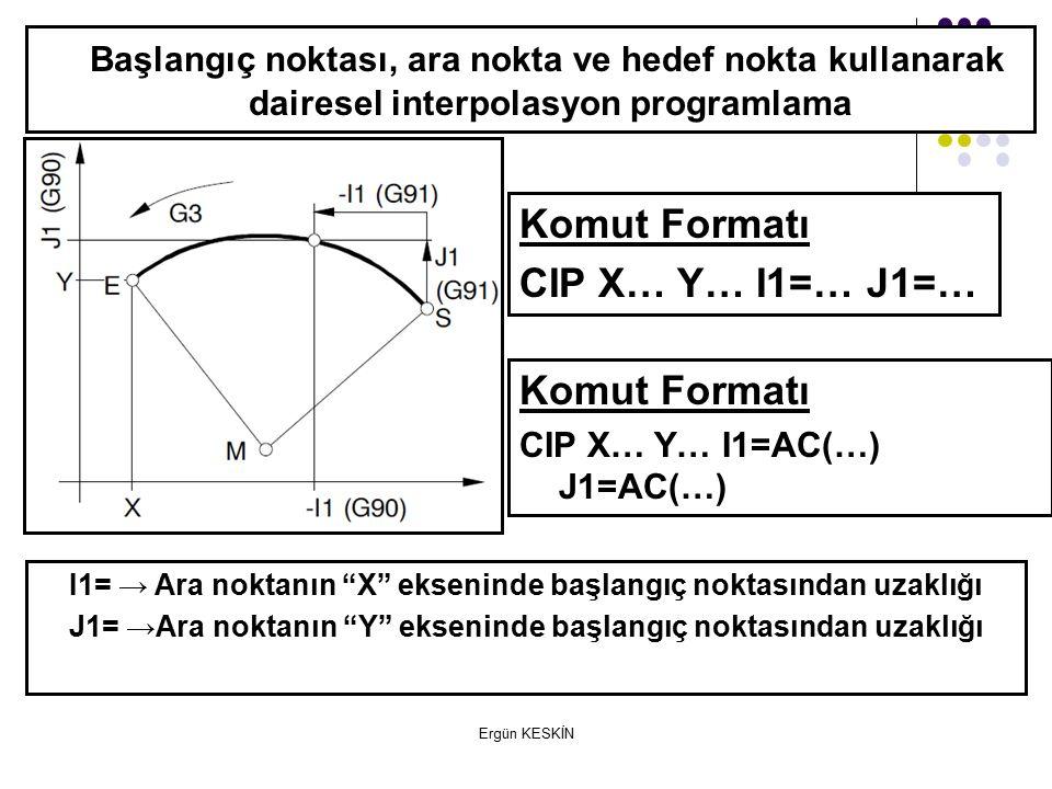 Ergün KESKİN Başlangıç noktası, ara nokta ve hedef nokta kullanarak dairesel interpolasyon programlama Komut Formatı CIP X… Y… I1=… J1=… I1= → Ara noktanın X ekseninde başlangıç noktasından uzaklığı J1= →Ara noktanın Y ekseninde başlangıç noktasından uzaklığı Komut Formatı CIP X… Y… I1=AC(…) J1=AC(…)