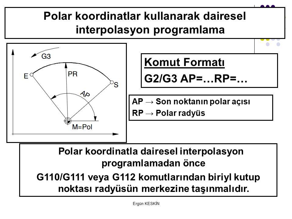 Ergün KESKİN Polar koordinatlar kullanarak dairesel interpolasyon programlama Komut Formatı G2/G3 AP=…RP=… AP → Son noktanın polar açısı RP → Polar radyüs Polar koordinatla dairesel interpolasyon programlamadan önce G110/G111 veya G112 komutlarından biriyl kutup noktası radyüsün merkezine taşınmalıdır.