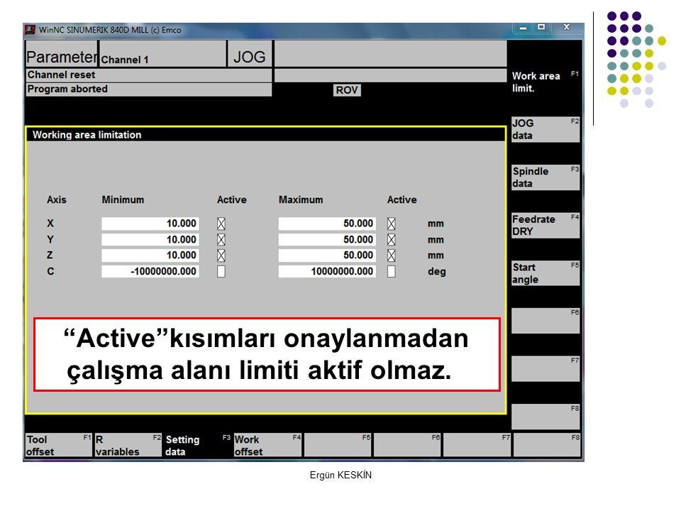 Ergün KESKİN Active kısımları onaylanmadan çalışma alanı limiti aktif olmaz.