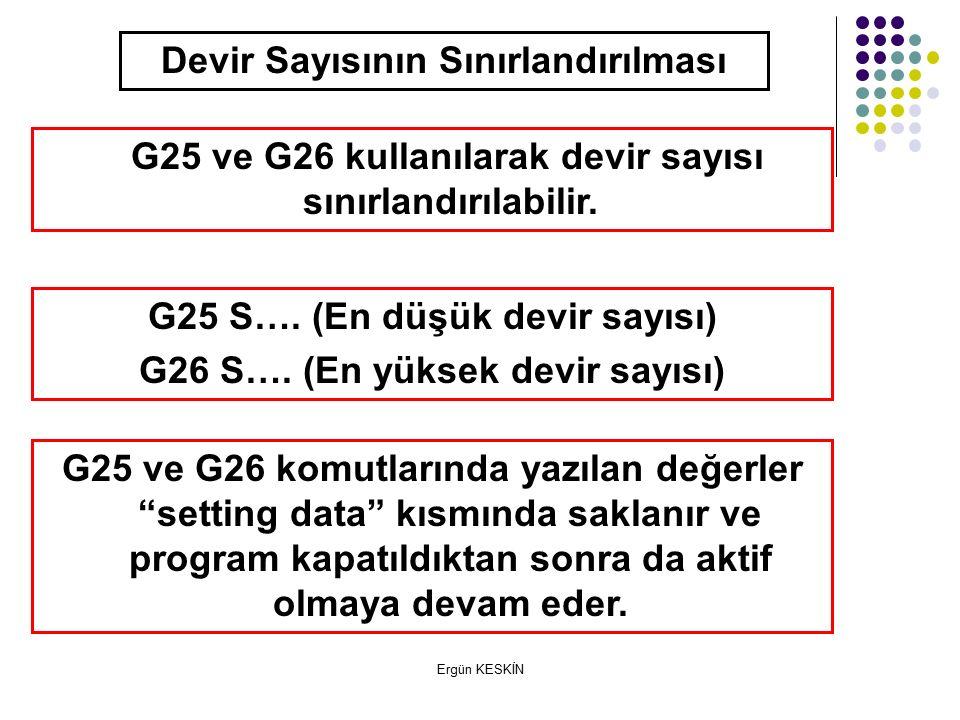 Ergün KESKİN Devir Sayısının Sınırlandırılması G25 ve G26 kullanılarak devir sayısı sınırlandırılabilir.