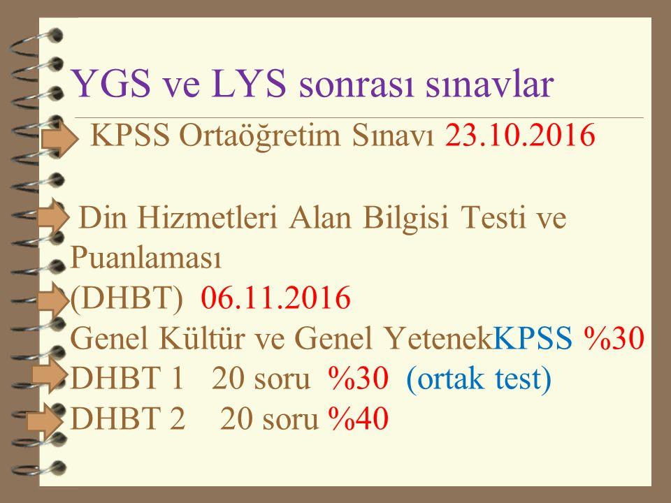 YGS ve LYS sonrası sınavlar KPSS Ortaöğretim Sınavı 23.10.2016 Din Hizmetleri Alan Bilgisi Testi ve Puanlaması (DHBT) 06.11.2016 Genel Kültür ve Genel YetenekKPSS %30 DHBT 1 20 soru %30 (ortak test) DHBT 2 20 soru %40