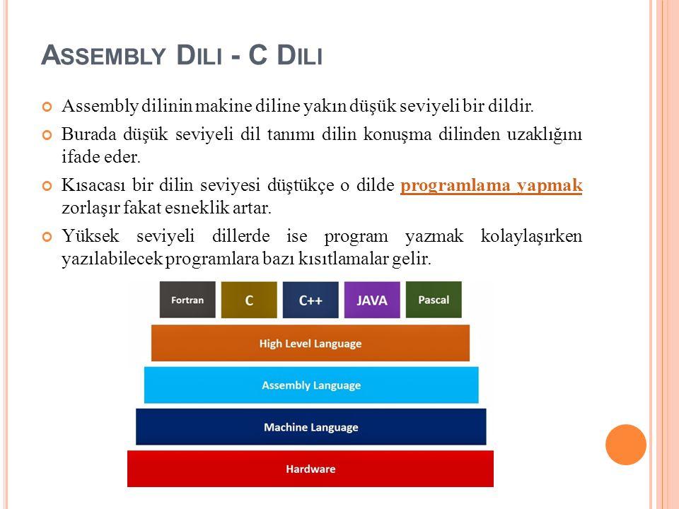A SSEMBLY D ILI - C D ILI Assembly dilinin makine diline yakın düşük seviyeli bir dildir.