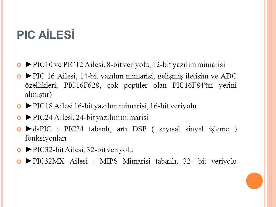 PIC AİLESİ ►PIC10 ve PIC12 Ailesi, 8-bit veriyolu, 12-bit yazılım mimarisi ►PIC 16 Ailesi, 14-bit yazılım mimarisi, gelişmiş iletişim ve ADC özellikleri, PIC16F628, çok popüler olan PIC16F84 ün yerini almıştır) ►PIC18 Ailesi 16-bit yazılım mimarisi, 16-bit veriyolu ►PIC24 Ailesi, 24-bit yazılım mimarisi ►dsPIC : PIC24 tabanlı, artı DSP ( sayısal sinyal işleme ) fonksiyonları ►PIC32-bit Ailesi, 32-bit veriyolu ►PIC32MX Ailesi : MIPS Mimarisi tabanlı, 32- bit veriyolu