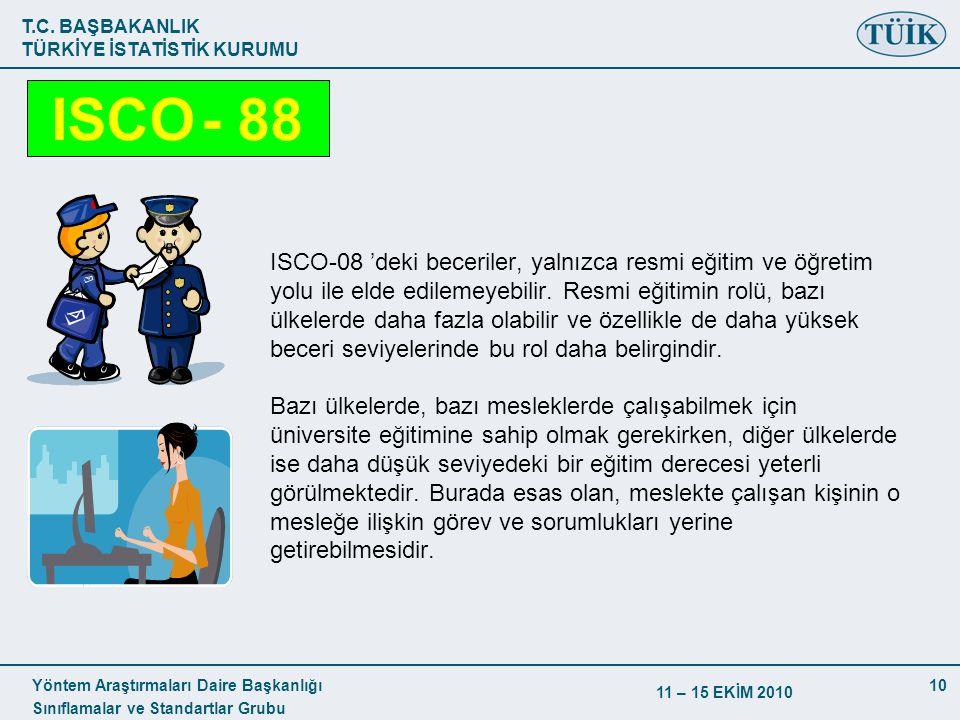 T.C. BAŞBAKANLIK TÜRKİYE İSTATİSTİK KURUMU Yöntem Araştırmaları Daire Başkanlığı Sınıflamalar ve Standartlar Grubu 11 – 15 EKİM 2010 10 ISCO-08 'deki