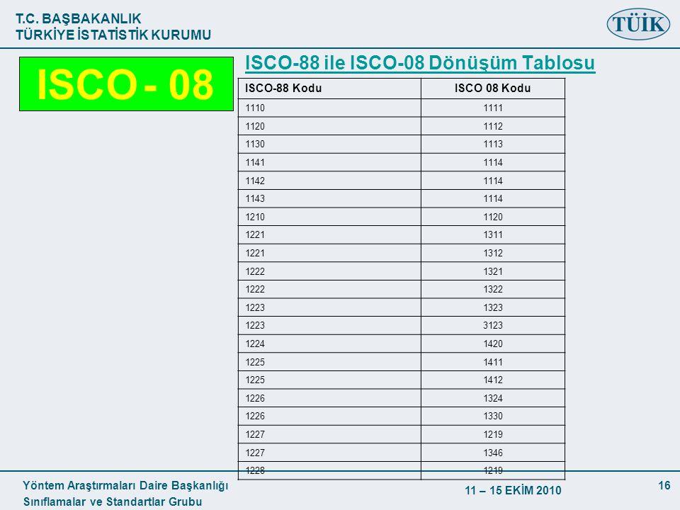 T.C. BAŞBAKANLIK TÜRKİYE İSTATİSTİK KURUMU Yöntem Araştırmaları Daire Başkanlığı Sınıflamalar ve Standartlar Grubu 11 – 15 EKİM 2010 16 ISCO-88 ile IS