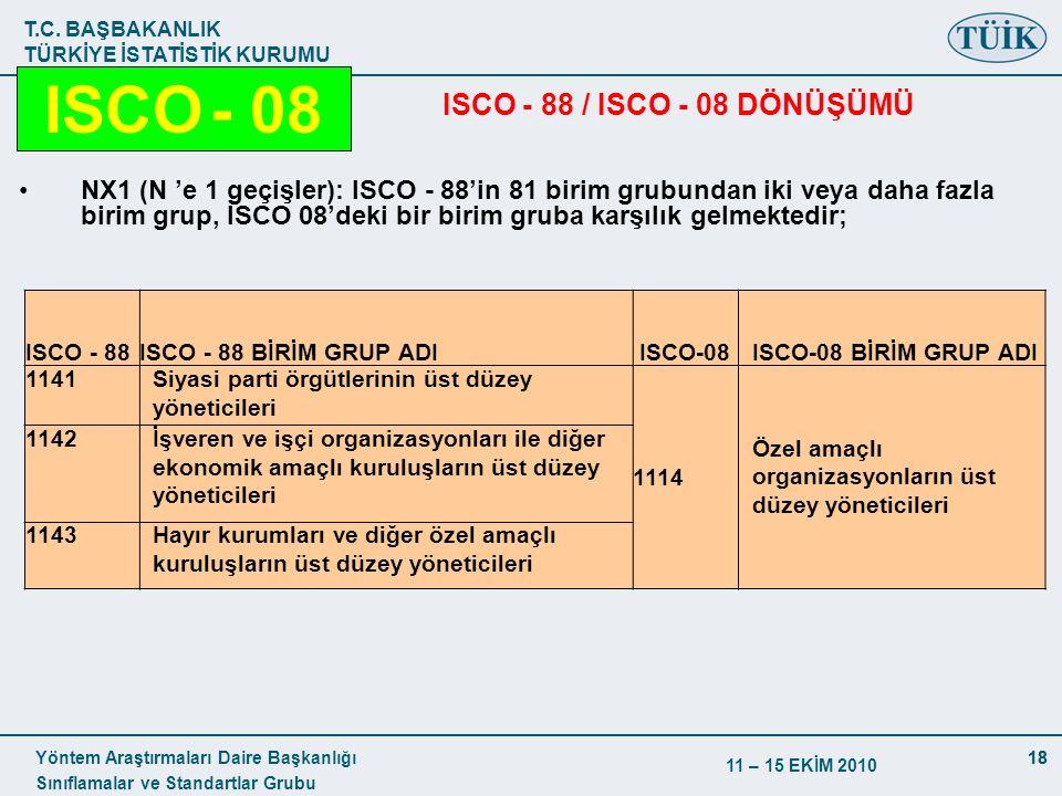 T.C. BAŞBAKANLIK TÜRKİYE İSTATİSTİK KURUMU Yöntem Araştırmaları Daire Başkanlığı Sınıflamalar ve Standartlar Grubu 11 – 15 EKİM 2010 18 ISCO - 88 / IS