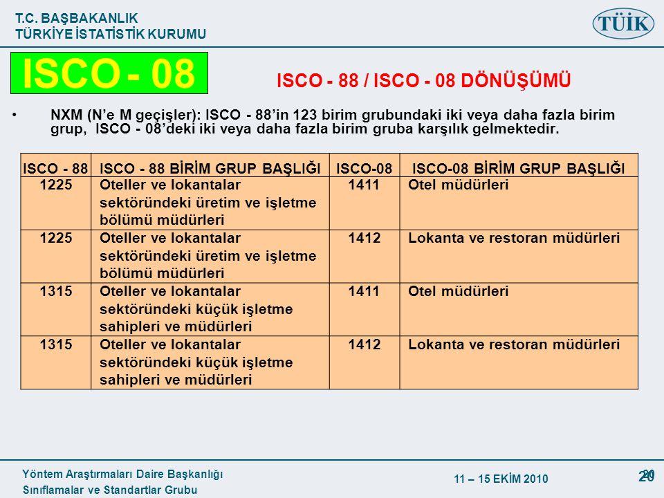 T.C. BAŞBAKANLIK TÜRKİYE İSTATİSTİK KURUMU Yöntem Araştırmaları Daire Başkanlığı Sınıflamalar ve Standartlar Grubu 11 – 15 EKİM 2010 20 ISCO - 88 / IS