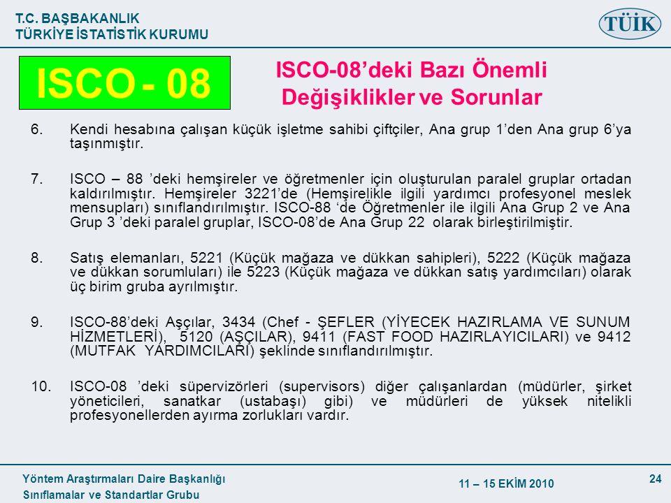 T.C. BAŞBAKANLIK TÜRKİYE İSTATİSTİK KURUMU Yöntem Araştırmaları Daire Başkanlığı Sınıflamalar ve Standartlar Grubu 11 – 15 EKİM 2010 24 ISCO-08'deki B