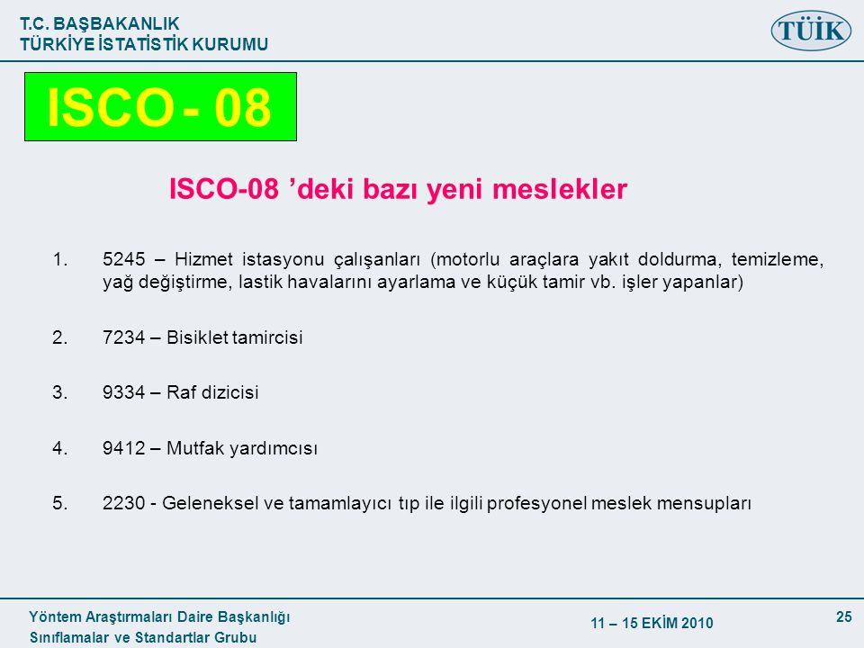 T.C. BAŞBAKANLIK TÜRKİYE İSTATİSTİK KURUMU Yöntem Araştırmaları Daire Başkanlığı Sınıflamalar ve Standartlar Grubu 11 – 15 EKİM 2010 25 ISCO-08 'deki