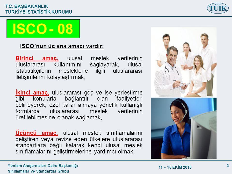 T.C. BAŞBAKANLIK TÜRKİYE İSTATİSTİK KURUMU Yöntem Araştırmaları Daire Başkanlığı Sınıflamalar ve Standartlar Grubu 11 – 15 EKİM 2010 3 ISCO'nun üç ana