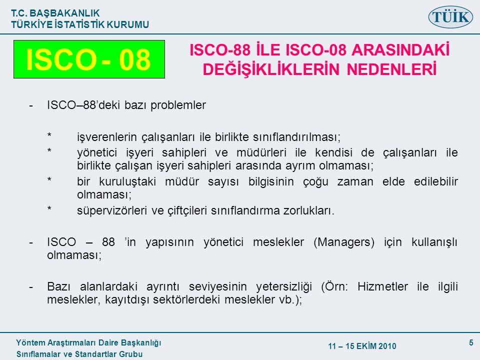T.C. BAŞBAKANLIK TÜRKİYE İSTATİSTİK KURUMU Yöntem Araştırmaları Daire Başkanlığı Sınıflamalar ve Standartlar Grubu 11 – 15 EKİM 2010 5 -ISCO–88'deki b