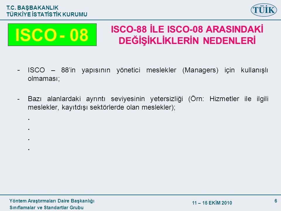 T.C. BAŞBAKANLIK TÜRKİYE İSTATİSTİK KURUMU Yöntem Araştırmaları Daire Başkanlığı Sınıflamalar ve Standartlar Grubu 11 – 15 EKİM 2010 6 - ISCO – 88'in