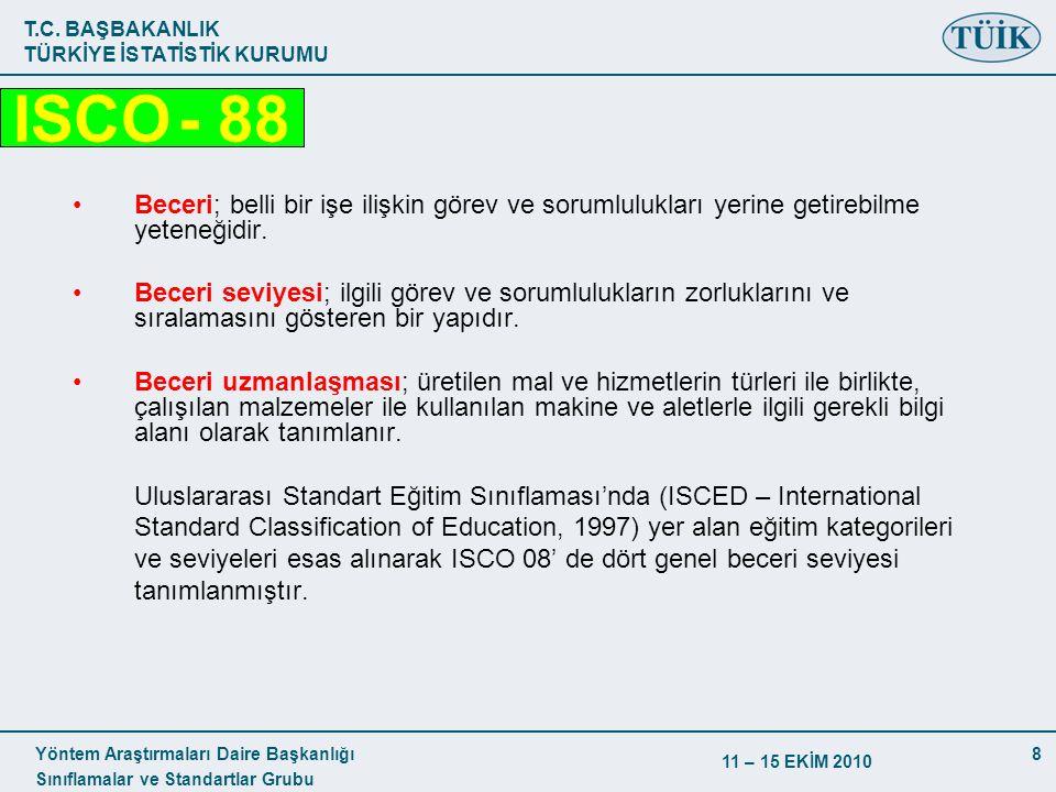 T.C. BAŞBAKANLIK TÜRKİYE İSTATİSTİK KURUMU Yöntem Araştırmaları Daire Başkanlığı Sınıflamalar ve Standartlar Grubu 11 – 15 EKİM 2010 8 Beceri; belli b