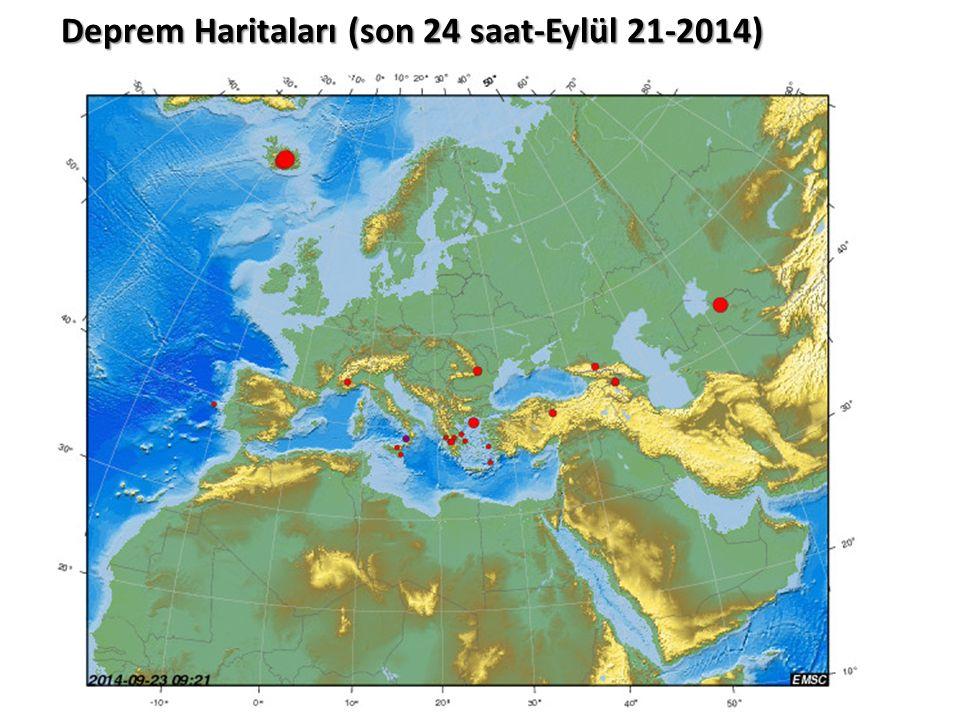 Deprem Haritaları (son 24 saat-Eylül 21-2014)