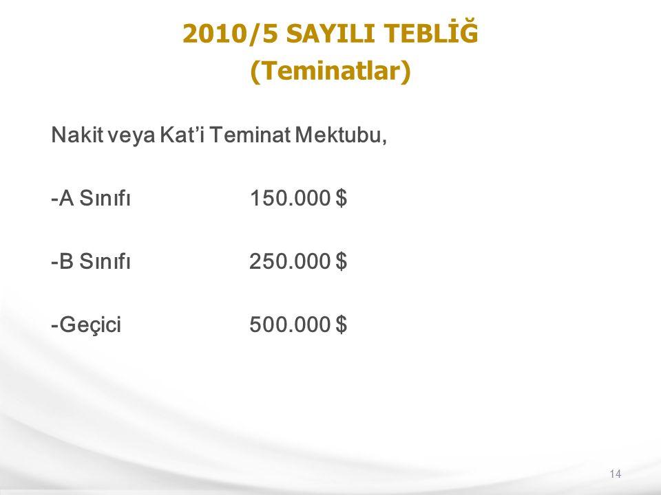 14 2010/5 SAYILI TEBLİĞ (Teminatlar) Nakit veya Kat'i Teminat Mektubu, -A Sınıfı150.000 $ -B Sınıfı250.000 $ -Geçici500.000 $