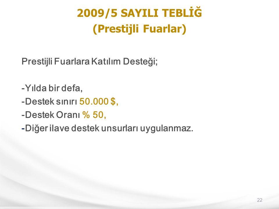 22 2009/5 SAYILI TEBLİĞ (Prestijli Fuarlar) Prestijli Fuarlara Katılım Desteği; -Yılda bir defa, -Destek sınırı 50.000 $, -Destek Oranı % 50, -Diğer i