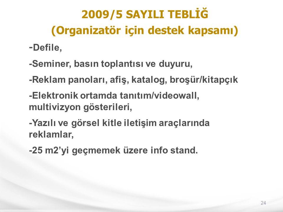 24 2009/5 SAYILI TEBLİĞ (Organizatör için destek kapsamı) - Defile, -Seminer, basın toplantısı ve duyuru, -Reklam panoları, afiş, katalog, broşür/kita