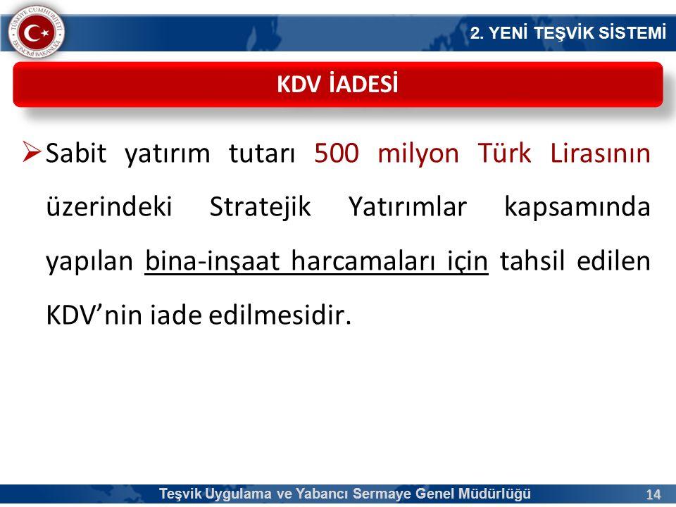 14  Sabit yatırım tutarı 500 milyon Türk Lirasının üzerindeki Stratejik Yatırımlar kapsamında yapılan bina-inşaat harcamaları için tahsil edilen KDV'