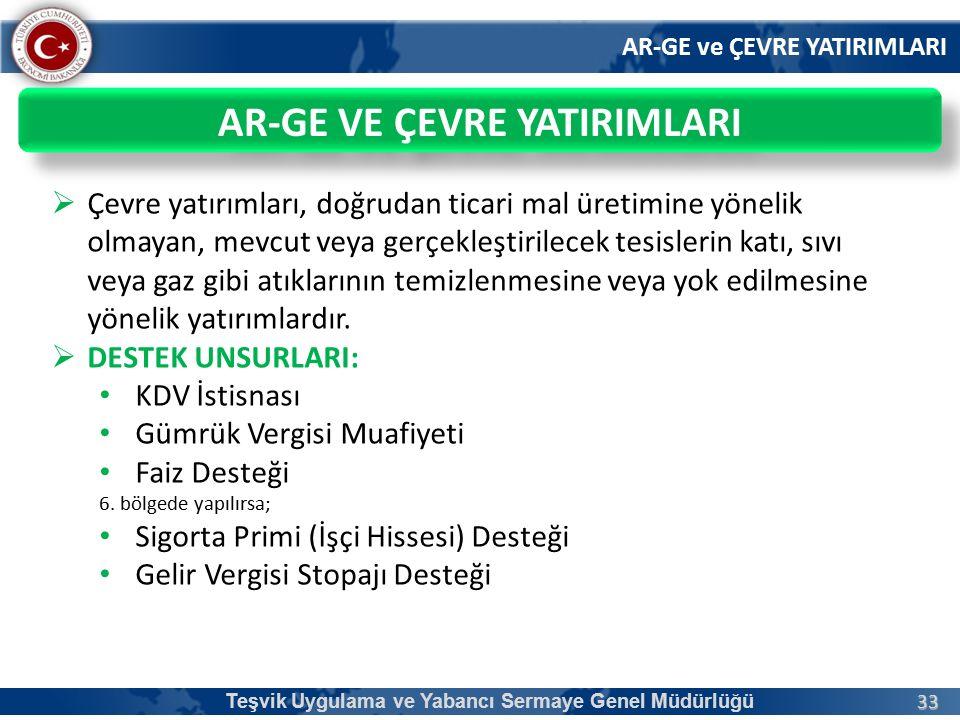 33 AR-GE ve ÇEVRE YATIRIMLARI Teşvik Uygulama ve Yabancı Sermaye Genel Müdürlüğü AR-GE VE ÇEVRE YATIRIMLARI  Çevre yatırımları, doğrudan ticari mal ü