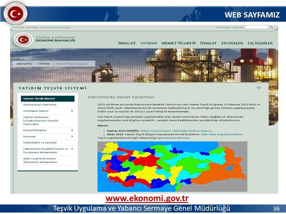 36 Teşvik Uygulama ve Yabancı Sermaye Genel Müdürlüğü www.ekonomi.gov.tr WEB SAYFAMIZ