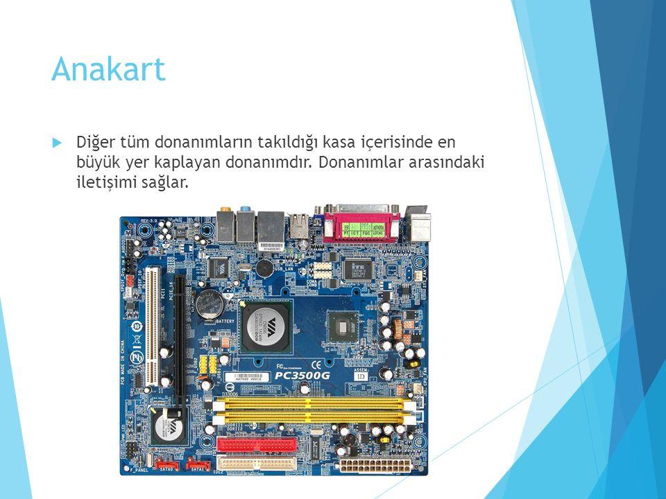 Anakart  Diğer tüm donanımların takıldığı kasa içerisinde en büyük yer kaplayan donanımdır. Donanımlar arasındaki iletişimi sağlar.
