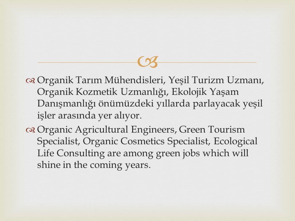   Organik Tarım Mühendisleri, Yeşil Turizm Uzmanı, Organik Kozmetik Uzmanlığı, Ekolojik Yaşam Danışmanlığı önümüzdeki yıllarda parlayacak yeşil işler arasında yer alıyor.