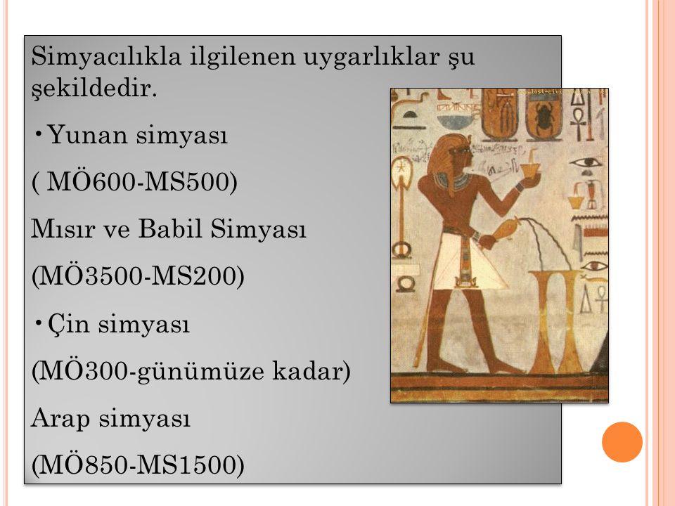 Simyacılıkla ilgilenen uygarlıklar şu şekildedir. Yunan simyası ( MÖ600-MS500) Mısır ve Babil Simyası (MÖ3500-MS200) Çin simyası (MÖ300-günümüze kadar