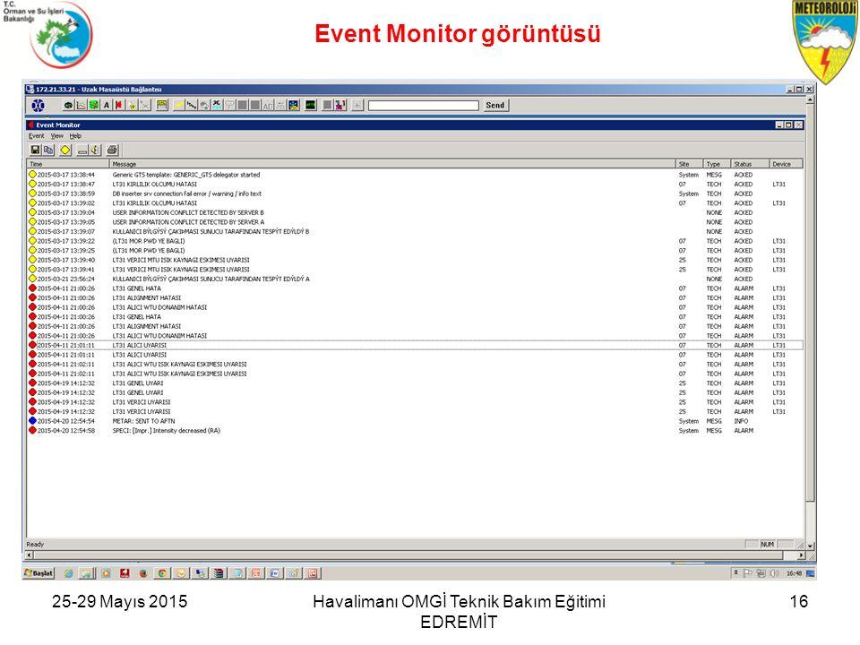 Event Monitor görüntüsü 25-29 Mayıs 2015Havalimanı OMGİ Teknik Bakım Eğitimi EDREMİT 16