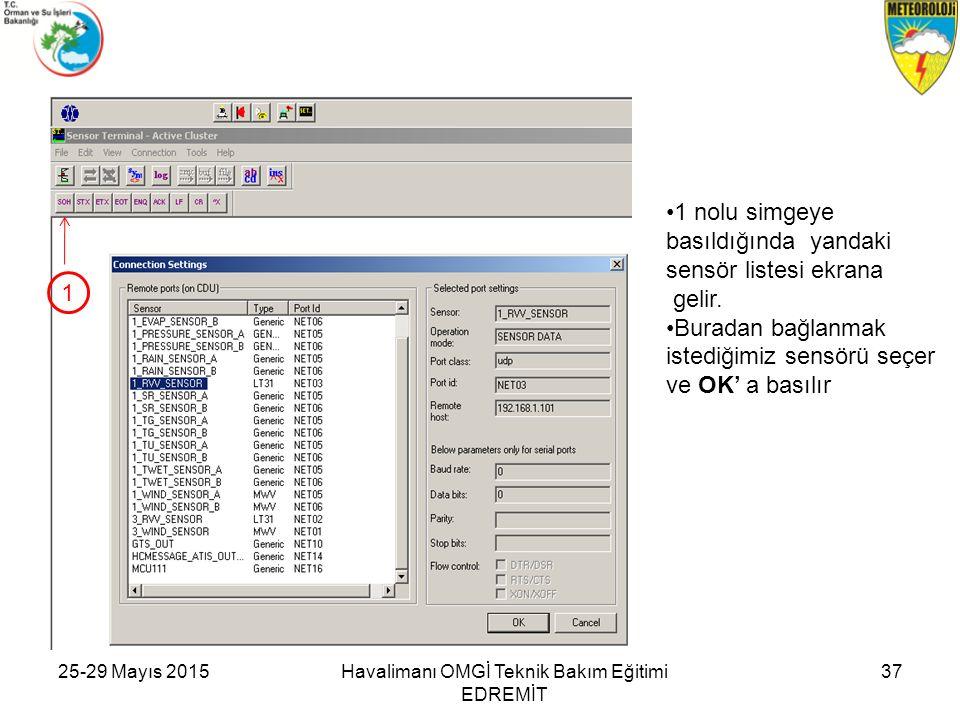 25-29 Mayıs 2015Havalimanı OMGİ Teknik Bakım Eğitimi EDREMİT 37 1 nolu simgeye basıldığında yandaki sensör listesi ekrana gelir. Buradan bağlanmak ist