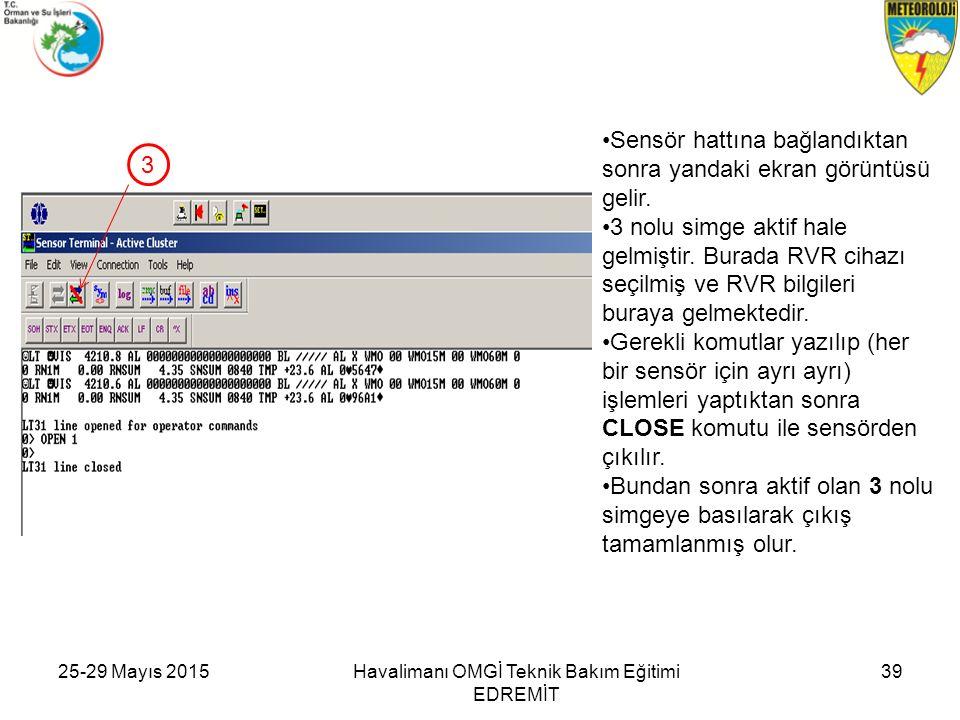 25-29 Mayıs 2015Havalimanı OMGİ Teknik Bakım Eğitimi EDREMİT 39 Sensör hattına bağlandıktan sonra yandaki ekran görüntüsü gelir. 3 nolu simge aktif ha