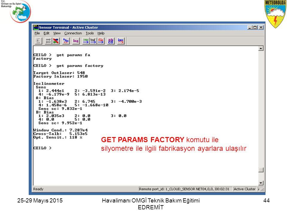 25-29 Mayıs 2015Havalimanı OMGİ Teknik Bakım Eğitimi EDREMİT 44 GET PARAMS FACTORY komutu ile silyometre ile ilgili fabrikasyon ayarlara ulaşılır