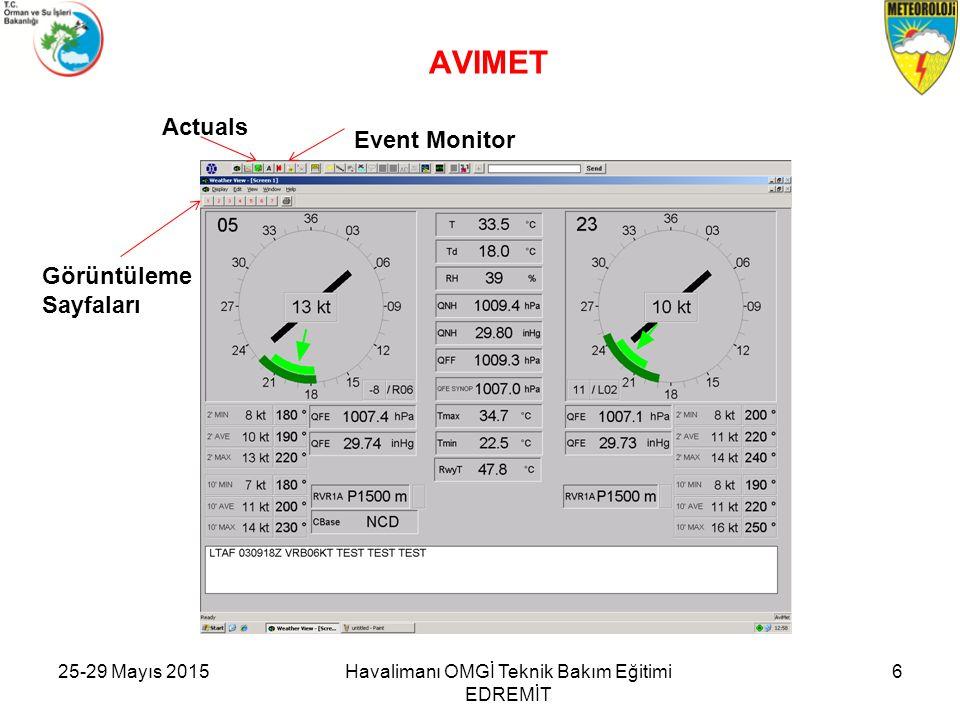 25-29 Mayıs 2015Havalimanı OMGİ Teknik Bakım Eğitimi EDREMİT 6 AVIMET Görüntüleme Sayfaları Event Monitor Actuals
