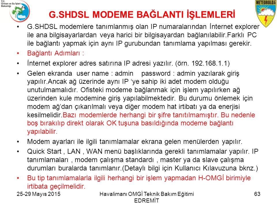25-29 Mayıs 2015Havalimanı OMGİ Teknik Bakım Eğitimi EDREMİT 63 G.SHDSL MODEME BAĞLANTI İŞLEMLERİ G.SHDSL modemlere tanımlanmış olan IP numaralarından