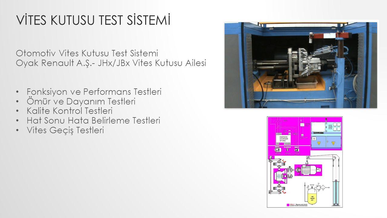 VİTES KUTUSU TEST SİSTEMİ Otomotiv Vites Kutusu Test Sistemi Oyak Renault A.Ş.- JHx/JBx Vites Kutusu Ailesi Fonksiyon ve Performans Testleri Ömür ve D