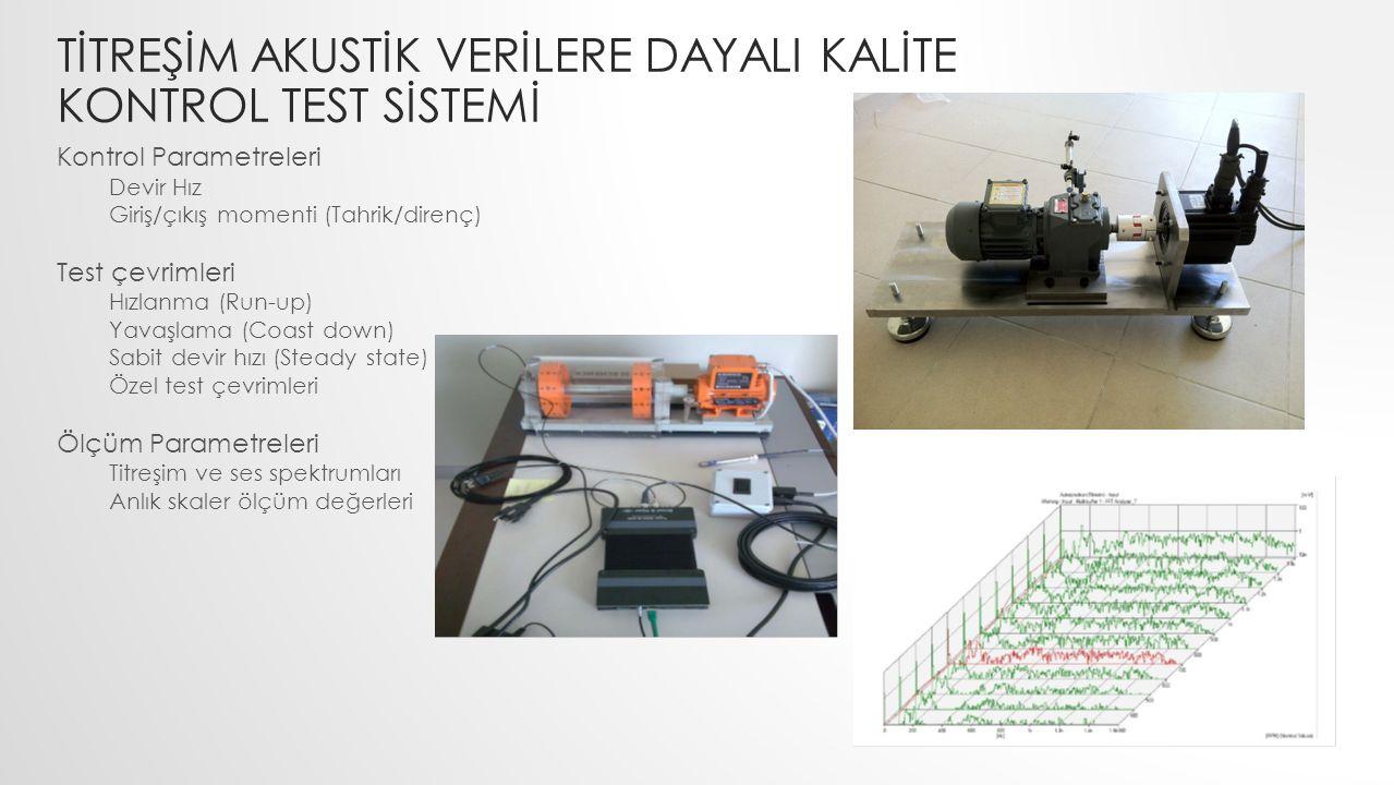 TİTREŞİM AKUSTİK VERİLERE DAYALI KALİTE KONTROL TEST SİSTEMİ Kontrol Parametreleri Devir Hız Giriş/çıkış momenti (Tahrik/direnç) Test çevrimleri Hızla