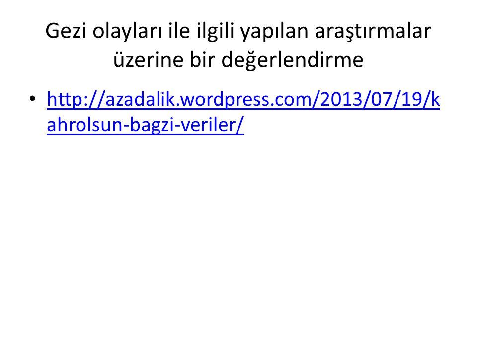 Gezi olayları ile ilgili yapılan araştırmalar üzerine bir değerlendirme http://azadalik.wordpress.com/2013/07/19/k ahrolsun-bagzi-veriler/ http://azad