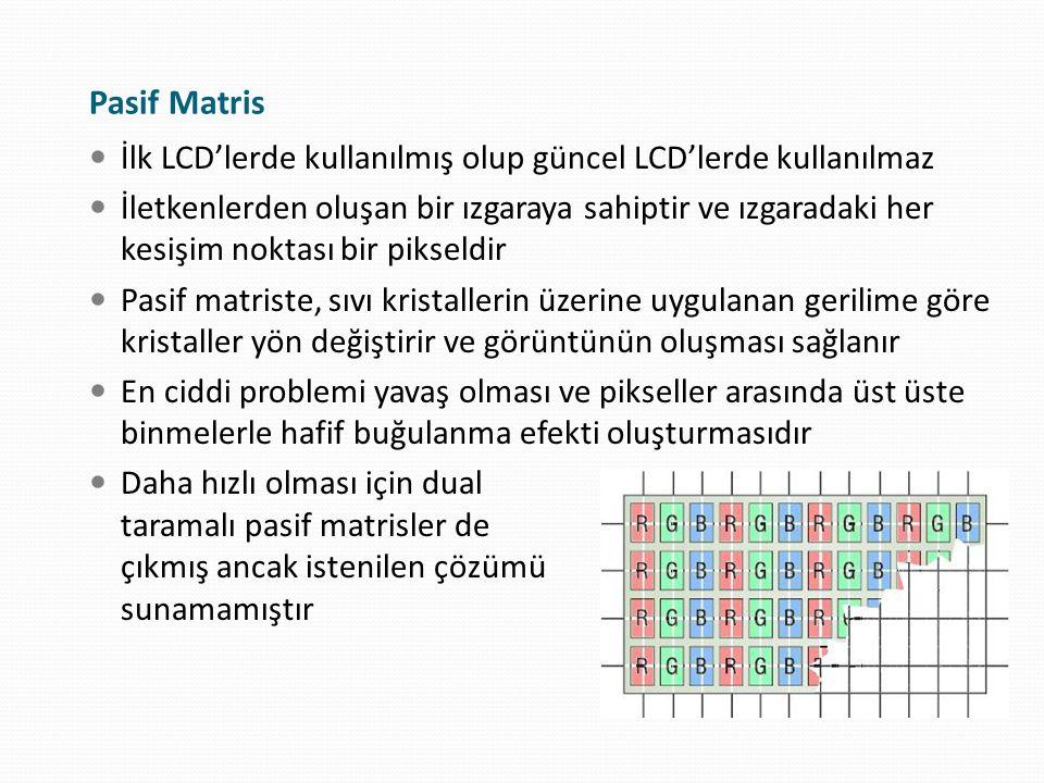 Pasif Matris İlk LCD'lerde kullanılmış olup güncel LCD'lerde kullanılmaz İletkenlerden oluşan bir ızgaraya sahiptir ve ızgaradaki her kesişim noktası