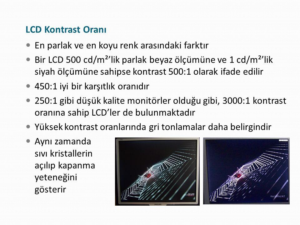 LCD Kontrast Oranı En parlak ve en koyu renk arasındaki farktır Bir LCD 500 cd/m²'lik parlak beyaz ölçümüne ve 1 cd/m²'lik siyah ölçümüne sahipse kont