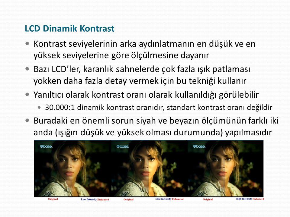 LCD Dinamik Kontrast Kontrast seviyelerinin arka aydınlatmanın en düşük ve en yüksek seviyelerine göre ölçülmesine dayanır Bazı LCD'ler, karanlık sahn
