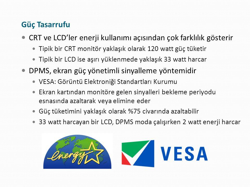 Güç Tasarrufu CRT ve LCD'ler enerji kullanımı açısından çok farklılık gösterir Tipik bir CRT monitör yaklaşık olarak 120 watt güç tüketir Tipik bir LC