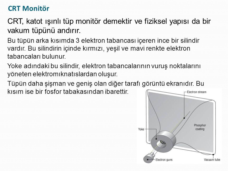 LCD Monitörler / Liquid Crystal Display LCD, sıvı kristalli monitörleri ifade eder Güncel olarak en yaygın kullanılan monitör türüdür CRT monitörlere göre daha ince ve hafiftirler Neredeyse titreşimsizdir ve zararlı radyasyon yaymaz Bunlara bağlı olarak CRT ekranlara göre daha az enerji kullanır Çözünürlük, tazeleme oranı ve bant genişliğine gibi CRT ile ortak ifade edilen özellikleri olsa da tamamen farklı bir çalışma sistemi vardır