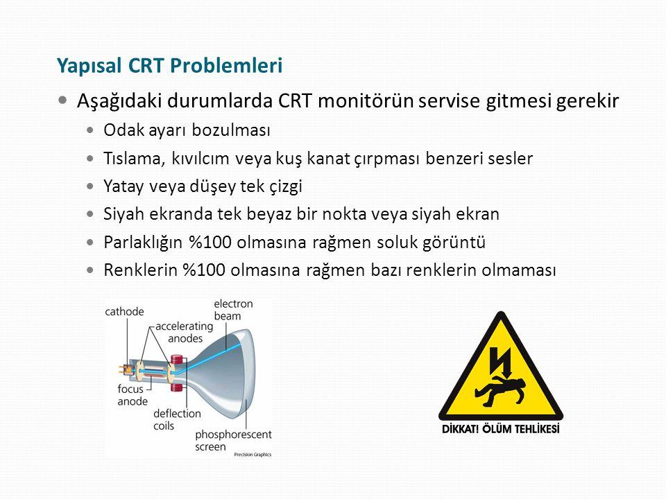 Aşağıdaki durumlarda CRT monitörün servise gitmesi gerekir Odak ayarı bozulması Tıslama, kıvılcım veya kuş kanat çırpması benzeri sesler Yatay veya dü